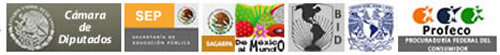 Instituciones gubernamentales de México e internacionales: Cámara de Diputados, SEP, SAGARPA, BID, UNAM, PROFECO