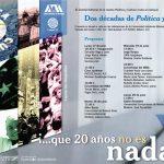 20 aniversario de la Revista Política y Cultura