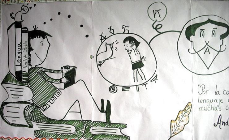 Imagen 2. Detalle de la cartelera temática. Lengua y lenguaje. Combina imágenes de nuestra cultura y una evocación a Miguel de Cervantes.